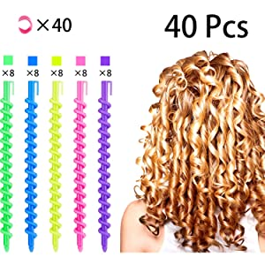 40 Pieces Spiral Hair Perm Rod Spiral Rod Plastic Long Barber Hairdressing Styling Curling Perm Rod Hair Rollers Salon Tools for Women Girls (6.10 x 0.24 Inch)
