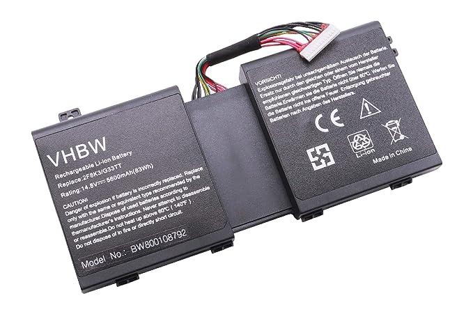 vhbw Li-Ion batería 5600mAh (14.8V) para Notebook Ordenador portátil DELL Alienware