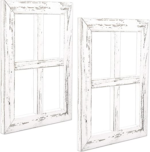 Window Frame Wall Decor 2 Pack Rustic White Wood Window Pane Country Farmhouse Decorations Amazon Ca Generic