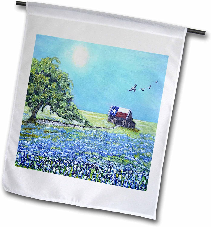 3dRose Melissa A. Torres Art Texas - Image of Texas barn with Live Oak Tree, Birds, and Bluebonnets - 12 x 18 inch Garden Flag (fl_242914_1)