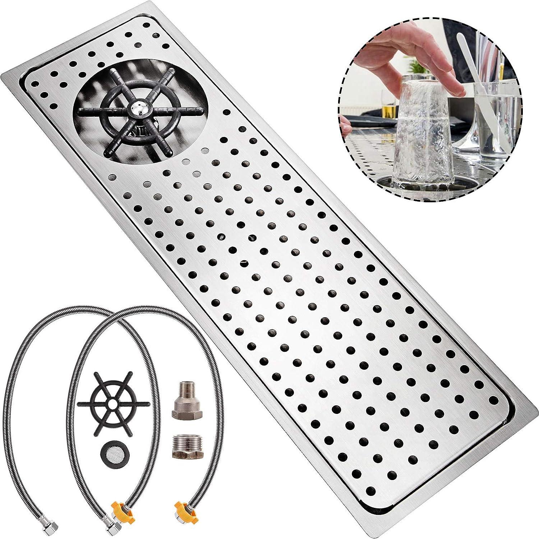 VEVOR Vidrio Enjuagadora Grifo de Jarra con Rociador Laterales Enjuagadora de Bar de 20.9x6.3 Pulgadas (530X160MM) Lavadora de vasos limpiador automático de vasos para Todo Tipo de Tazas