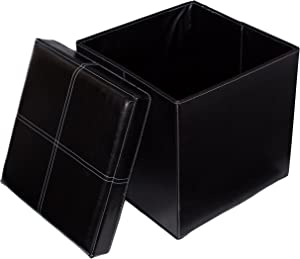BIRDROCK HOME Faux Leather Folding Storage Ottoman - 16 x 16 - Strong and Sturdy - Quick and Easy Assembly - Foot Stool - Black