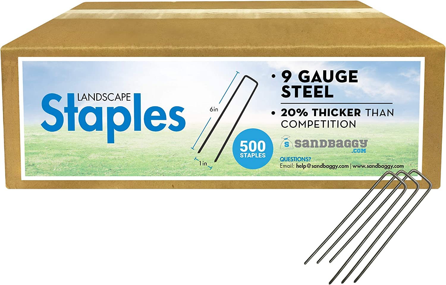 Sandbaggy 9 Gauge Landscape Sod Staples ~Great for Hard Soil - 20% Thicker Than Competition (500)