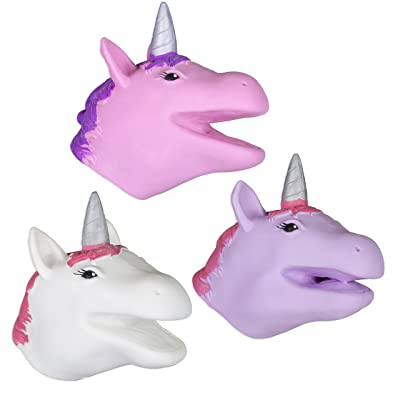 Set of 3 Magical Unicorn Soft Safe Stretchy Hand Puppets: Toys & Games