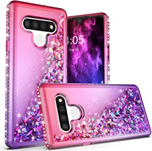 HUIQUAN for LG Stylo 6 Case, Glitter Case for Stylo 6 Gradient Stylish Floating Liquid Quicksand, Bling Diamond Phone Case for Girls&Women (Hot Pink/Purple)
