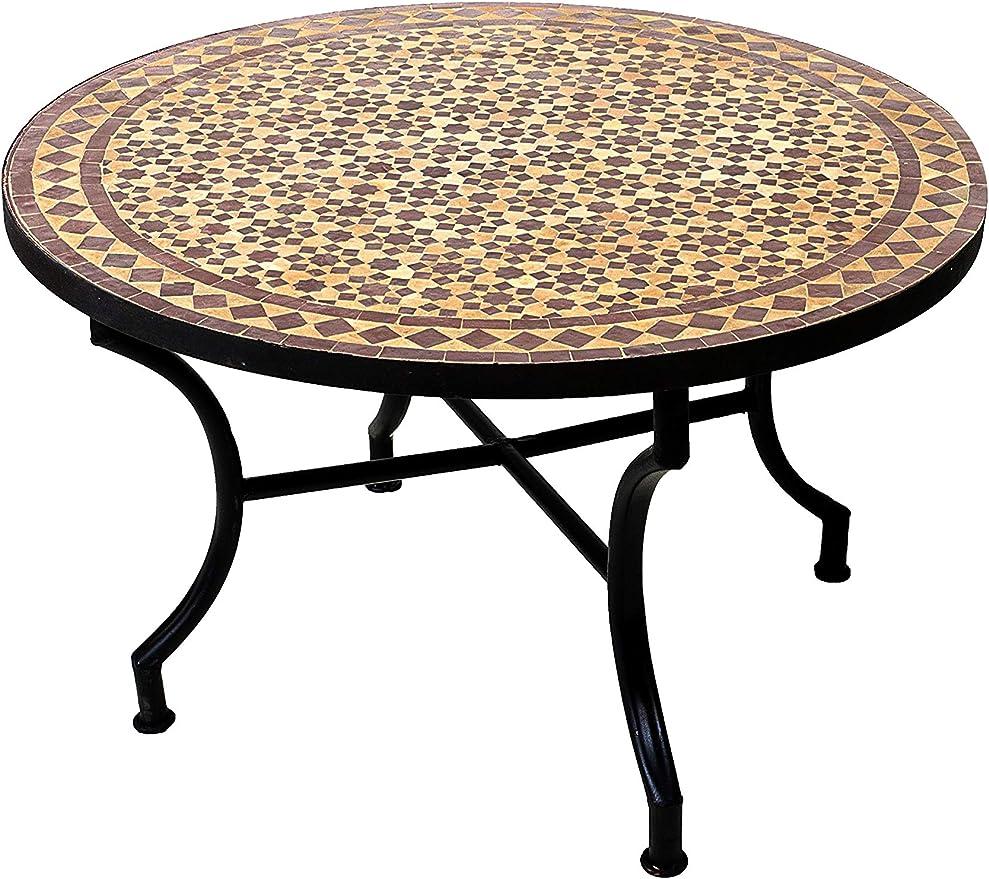 Original marroquí mosaico mesa Jardín Mesa Diámetro 80 cm Grande redondo plegable | redonda plegable mosaico comedor Mediterran | como mesa plegable para terraza o jardín | Albaicin Beige Burdeos 80 cm: Amazon.es: Jardín