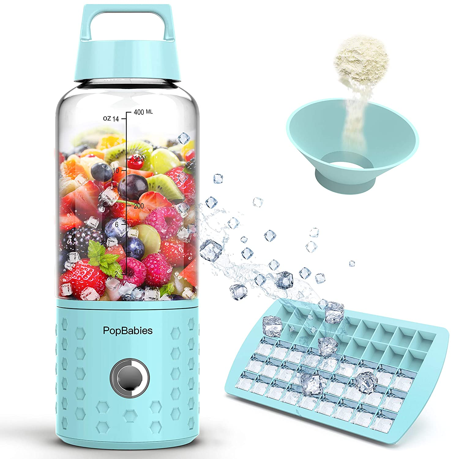 Personal Blender, PopBabies Portable Blender for Travel, Rechargeable USB Blender for Shakes and Smoothies Stronger and Faster with Ice Tray Funnel and Recipe Carolina Blue (FDA and BPA free)