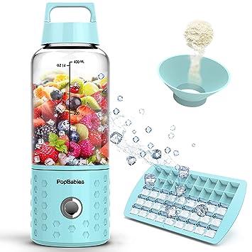 Licuadora para batidos y Smoothies, Batidora de portátil más fuerte y más rápido, popbabies pequeño licuadora con bandeja de hielo (sin BPA FDA Certified): ...