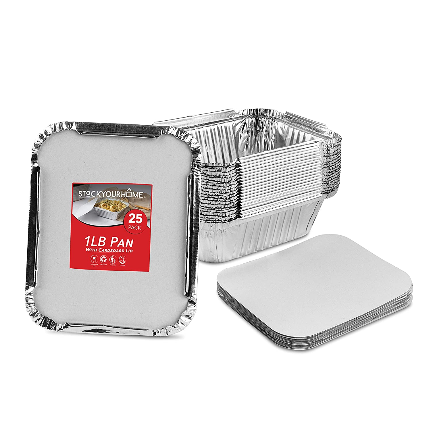 Stock Your Home 1 Lb Aluminum Disposable Cookware With Lids (25 Pack) - Foil Pans Cardboard Lids - Disposable & Recyclable Takeout Trays With Lids - Food Containers For Restaurants, Catering, Delis