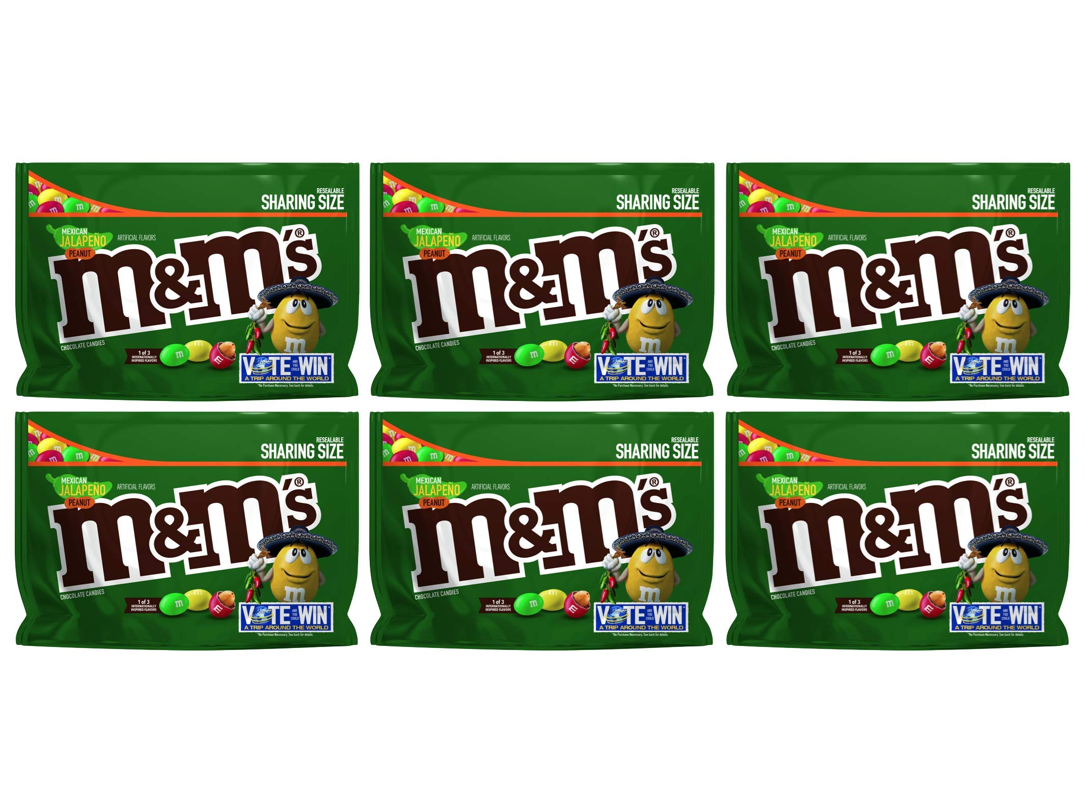 M&M's (Pack of 6) Chocolate Candy Flavor Vote Mexican Jalapeno Peanut Sharing Size, 9.6 Ounce Bag