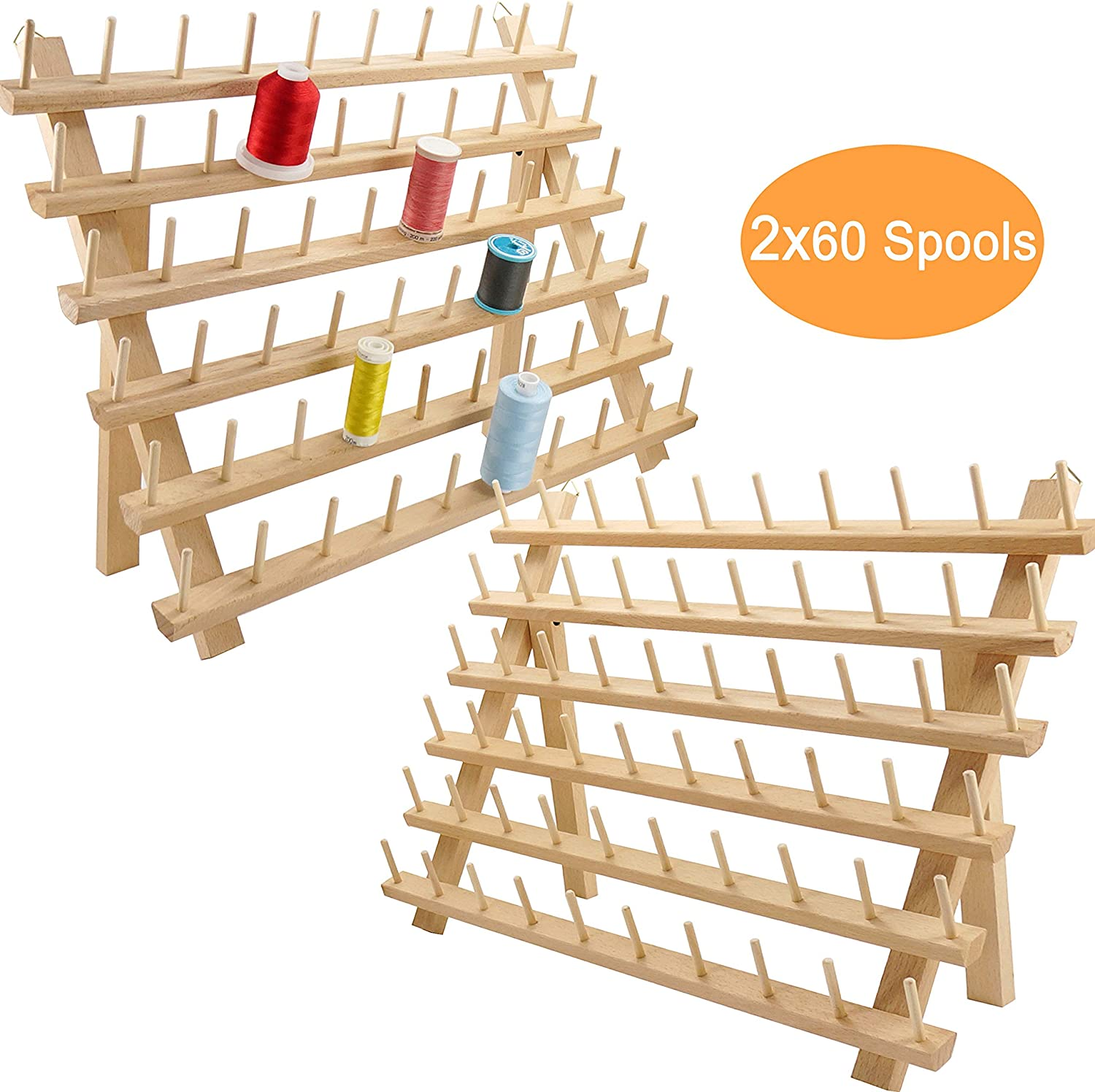 Renewed New Brothread 2X60 Spools Wooden Thread Rack//Thread Holder Organizer with Hanging Hooks for Embroidery Quilting and Sewing Threads