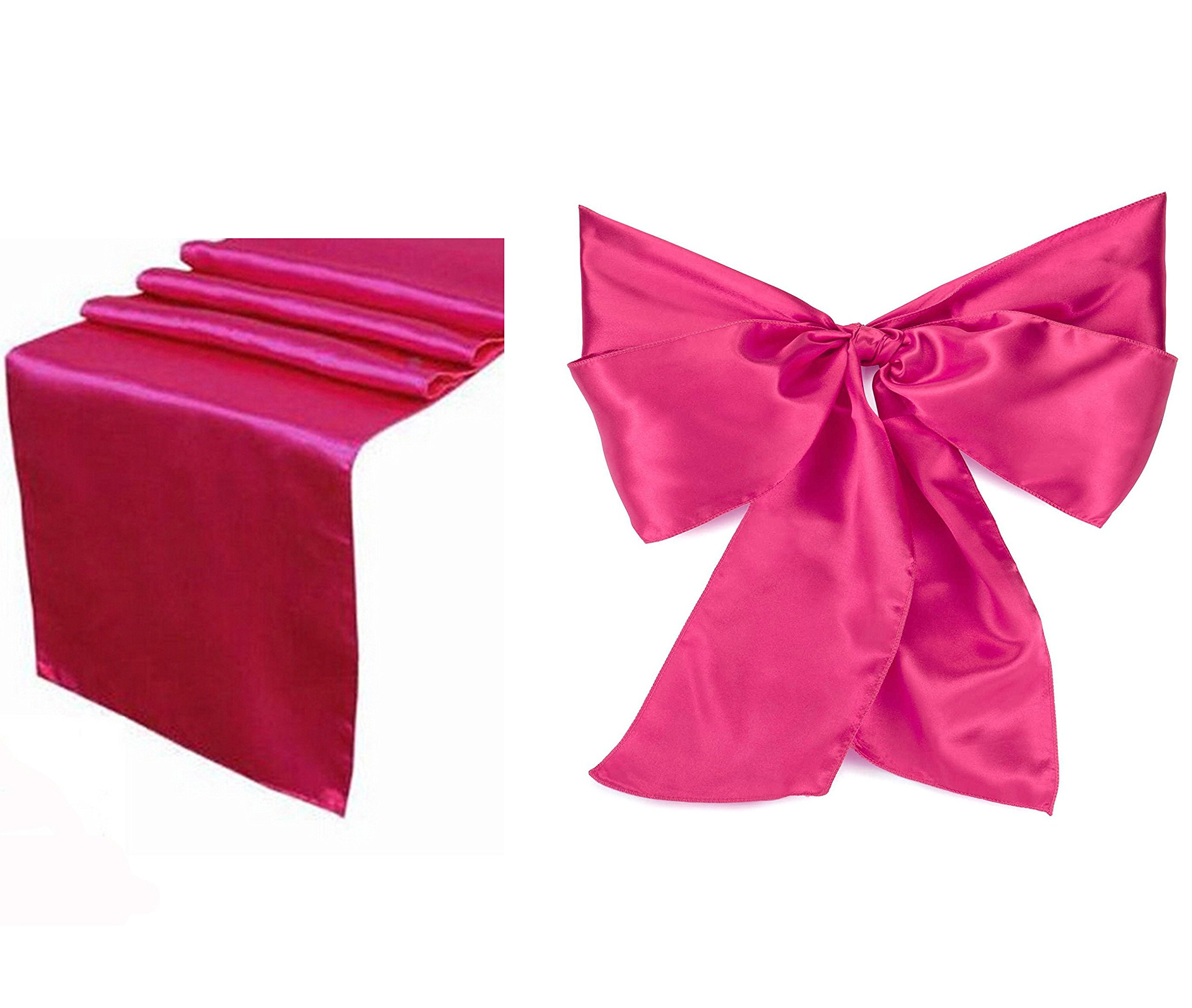 Elina Home Combo Satin 10 Table Runner & 50 Bow Sashes Tablerunner and Chair Wedding, Magenta