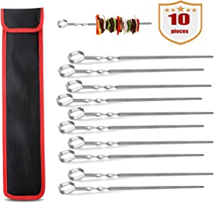 HeyWin Barbecue Skewers for Grill BBQ,Stainless Steel Reusable Grilling Sticks with Durable Holder Bag or with Container Tube,Dishwasher Safe (10)