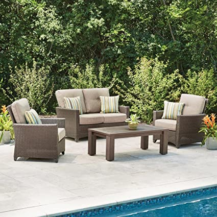 Attrayant Hampton Bay Tacana 4 Piece Wicker Patio Deep Seating Set With Beige Cushions