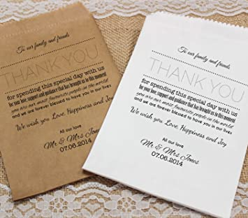Bolsas de dulces de la boda personaliseitonline gracias Nota dulces carrito favores de la boda confeti de compromiso: Amazon.es: Hogar