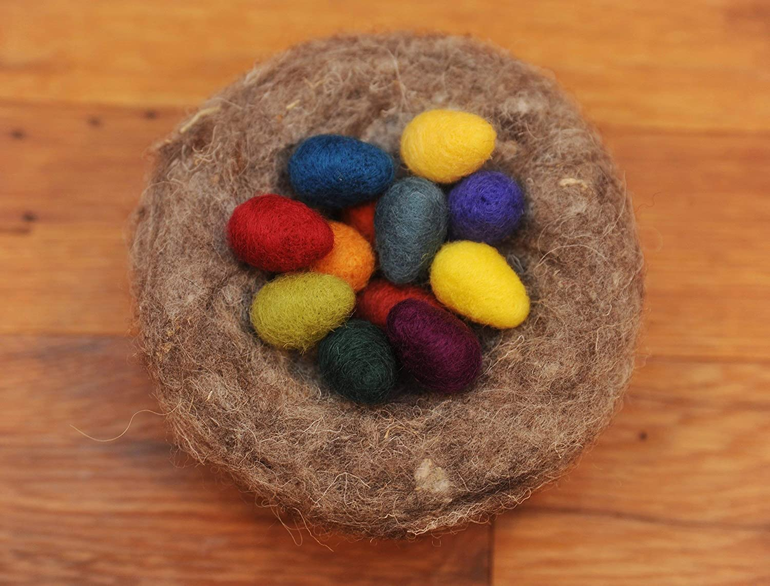 Rainbow Felted Eggs Set of 12 Small Wool Easter Eggs with optional Nest