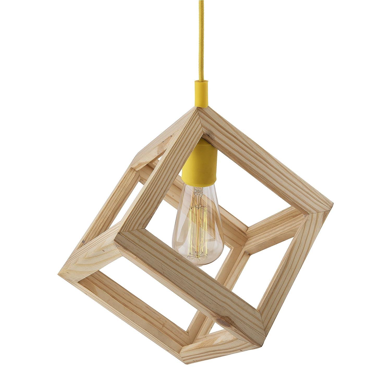 Buy Homesake Modern Nordic Wooden Pendant Cube Light, With White
