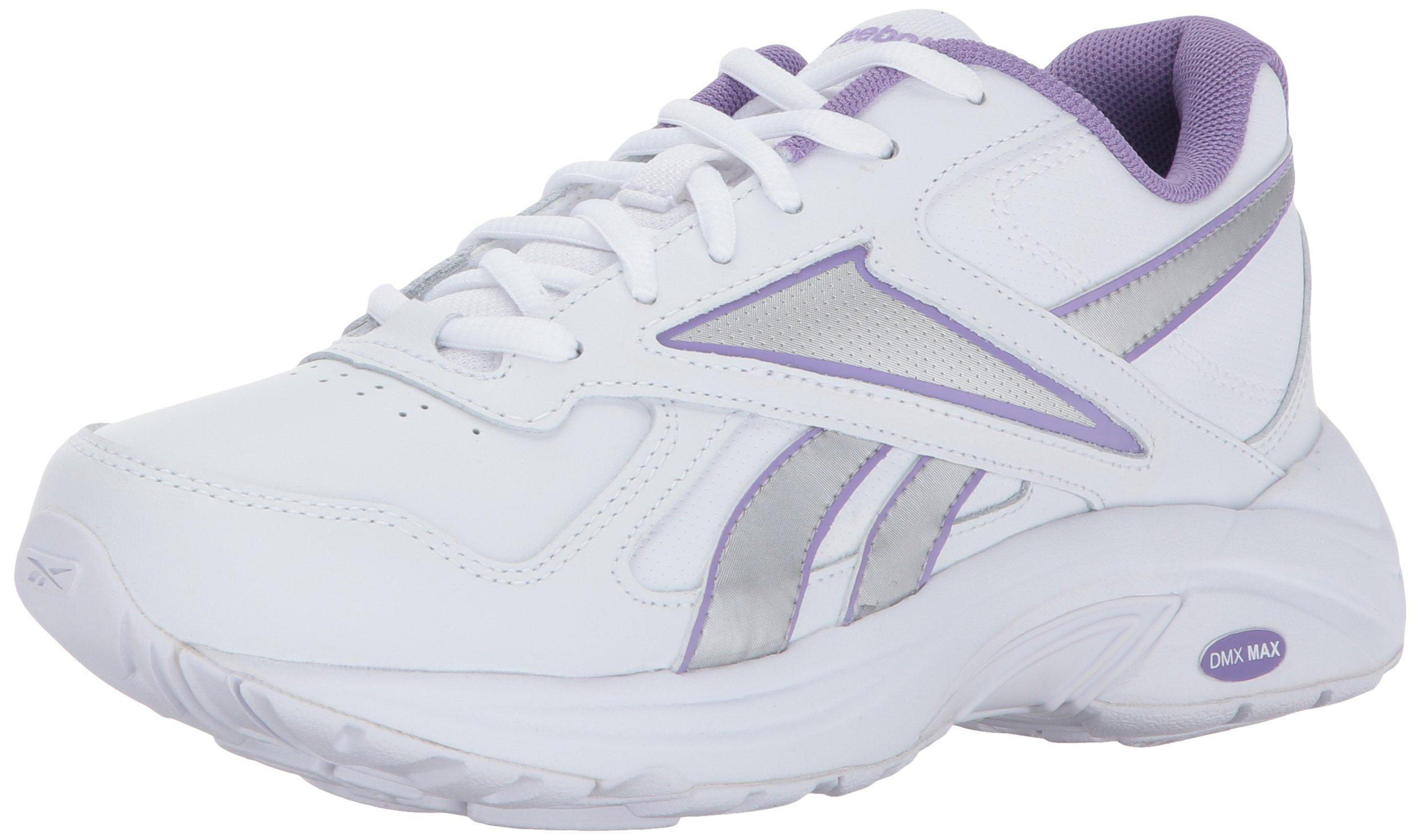 Reebok Women's Walk Ultra V DMX Max Track Shoe, White/Smoky Violet/Silver Metallic, 7.5 M US