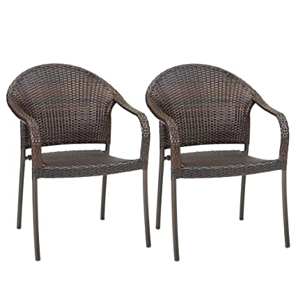 Strange Outdoor Wicker Stacking Chairs Set Of 2 Best Selling Patio Chair Home Interior And Landscaping Eliaenasavecom