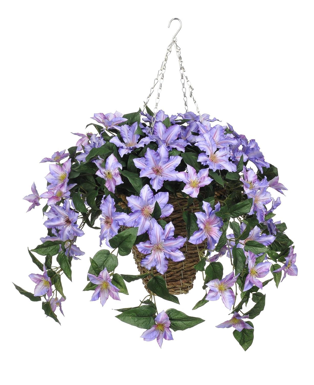 人工植物クレマチスHanging正方形でバスケットフラワーカラー:パープル B00WT7S9KK