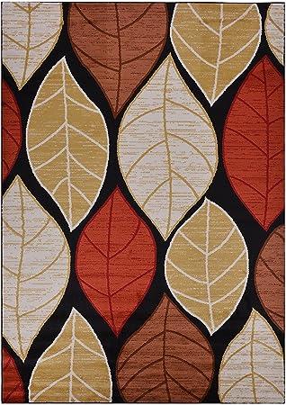 Amazon Com Rugstylesonline Studio Collection Leaves Black Contemporary Design Area Rug Multi Color 7 10 X 9 10 Furniture Decor