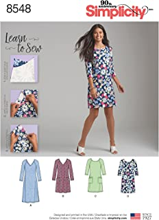 product image for Simplicity US8548AS Learn Women's Knee and Shin Length Dress Sewing Patterns, Sizes 10-22