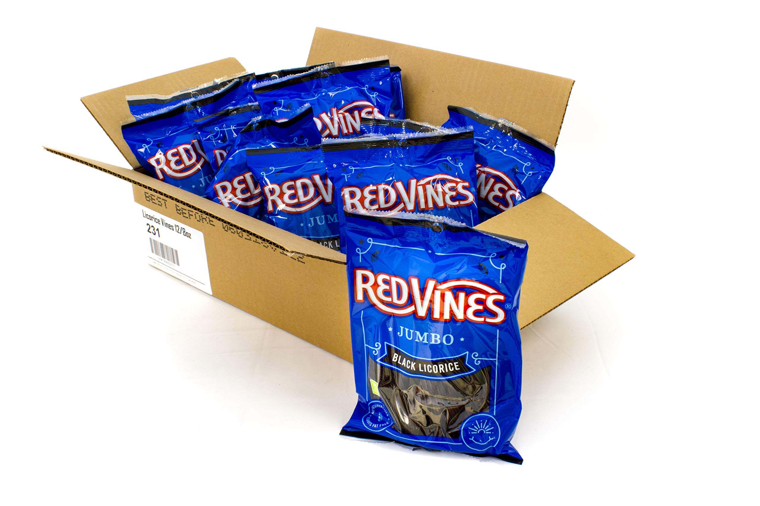 Red Vines Jumbo Black Licorice, 8oz Bag (12 Pack), Soft & Chewy Candy Twists