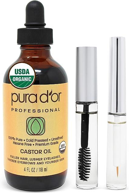 Pura DOr Aceite de ricino (118 ml) 100% puro todo el aceite natural para