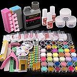 42 in 1 Acrylic Nail Kit, Nail Art Set Acrylic Powder Liquid Brush Glitter Clipper File French Tips Nail Art Decoration…