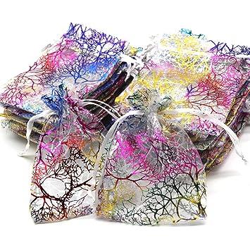 Kebinfen 100 Piezas 9x12cm patrón Coral patrón cordón Sacos para la Boda Favor Bolsas Bolsas de joyería (100 Piezas, Blanco)