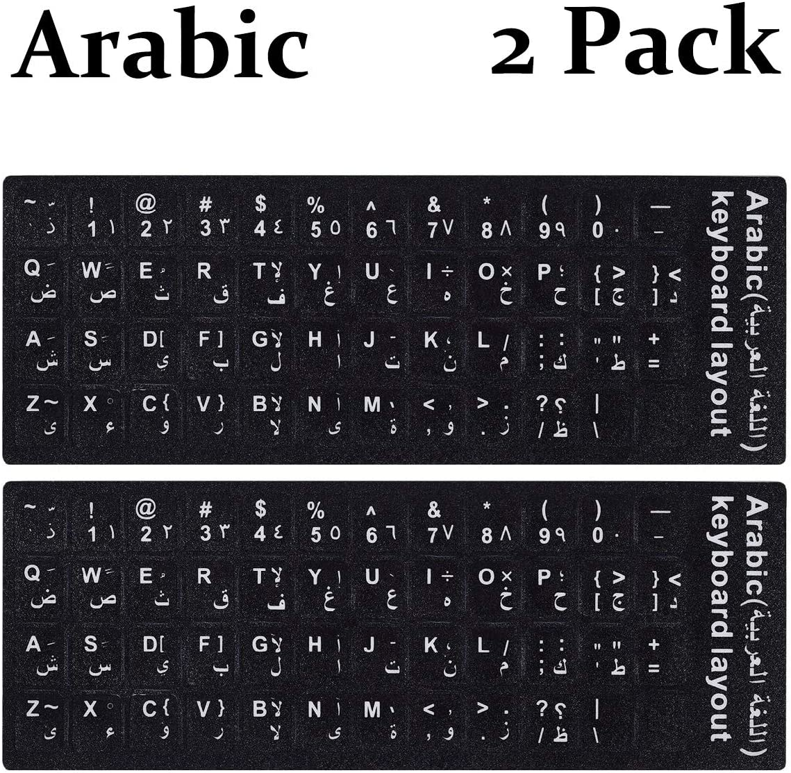 2PCS Pack Arabic Keyboard Stickers, Arabic English Keyboard Replacement Sticker with Black Background and  White Lettering for Computer Notebook Laptop Desktop Keyboards