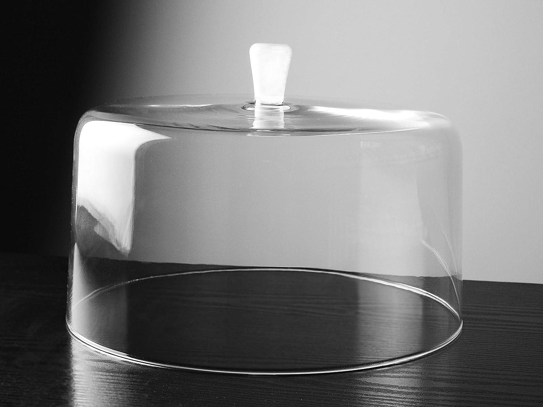 Barski – ヨーロッパ品質ガラス – L – ガラスクリア – ケーキドーム – オパール(ホワイト)ノブ – 直径11.5インチ – ヨーロッパ製   B07KSMP2N5