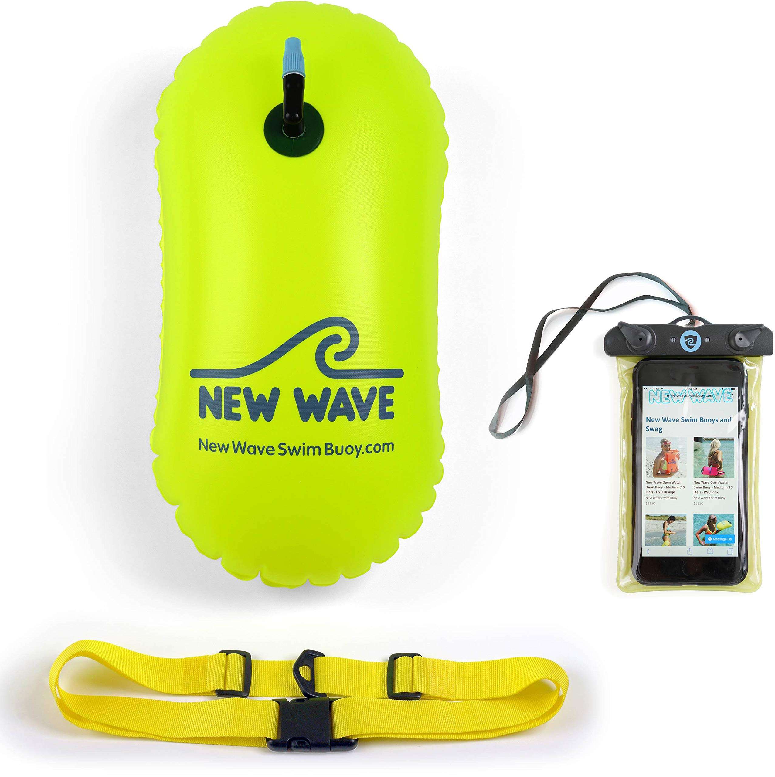 New Wave Swim Bubble for Open Water Swimmers and Triathletes - No Dry-Bag - Waterproof Phone Case & Swim Bubble Bundle (Green)