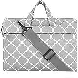 MOSISO Laptop Shoulder Bag Compatible 15-15.6 Inch MacBook Pro, Ultrabook Netbook Tablet, Canvas Quatrefoil Protective Briefcase Handbag Sleeve Case Carrying Cover, Gray