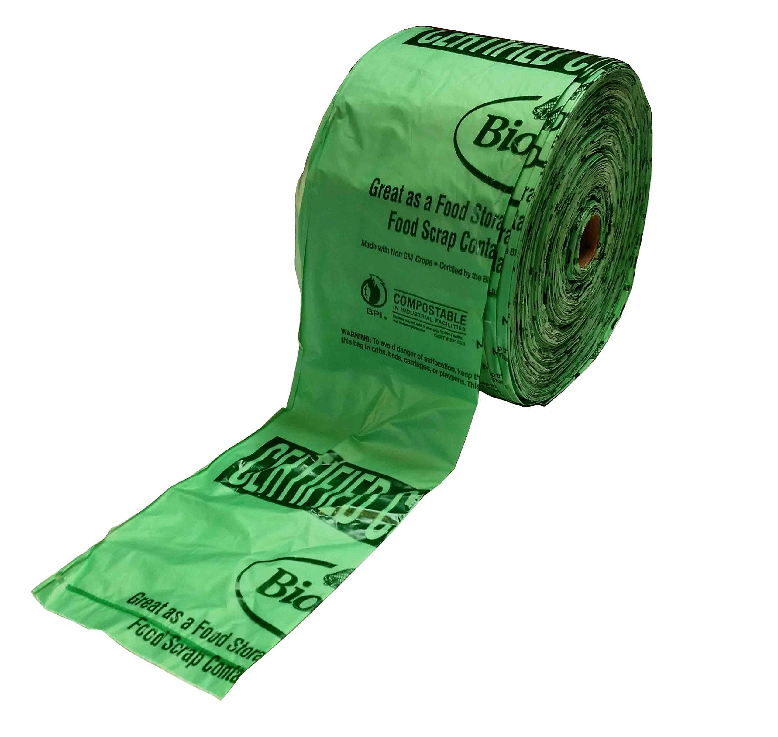 BioBag Compostable Compact Produce Bags, 15'' x 17'', Green (Pack of 1,300)