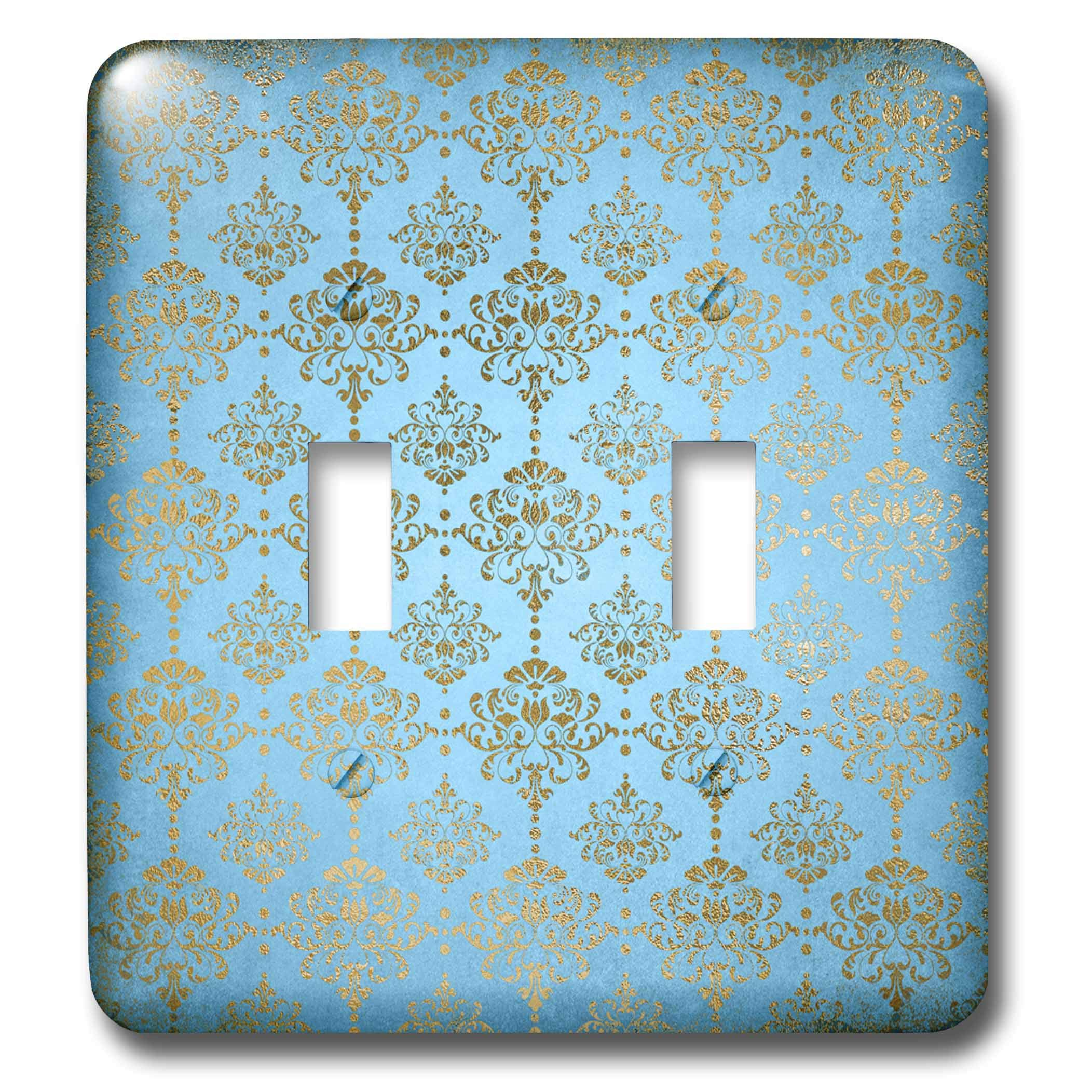3dRose Uta Naumann Faux Glitter Pattern - Image of Sky Blue and Gold Metal Foil Vintage Luxury Damask Pattern - Light Switch Covers - double toggle switch (lsp_290167_2) by 3dRose (Image #1)
