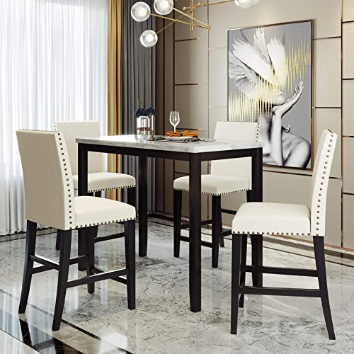 5 Piece Counter Height Dining Set Kitchen Table Furniture Set
