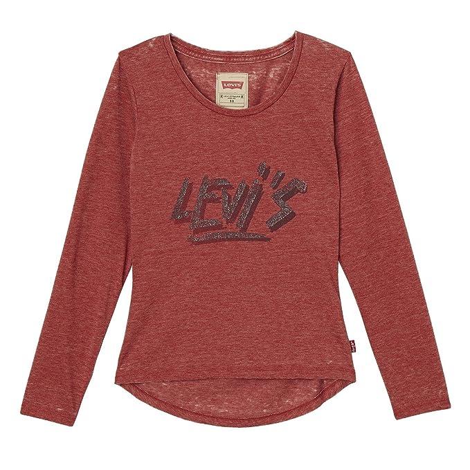 Levis LS tee Play, Camiseta para Niñas, Rojo (Red Dahlia 39),