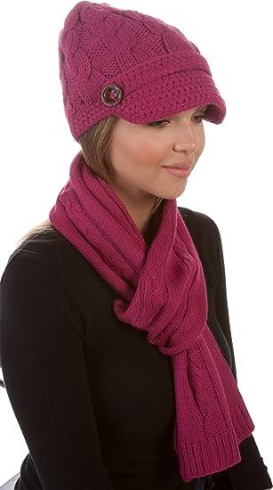 Sakkas ATES870VB Vanessa Ensemble de 2 écharpes à bonnets en tricot avec  bouton et tricot - e65727edeed