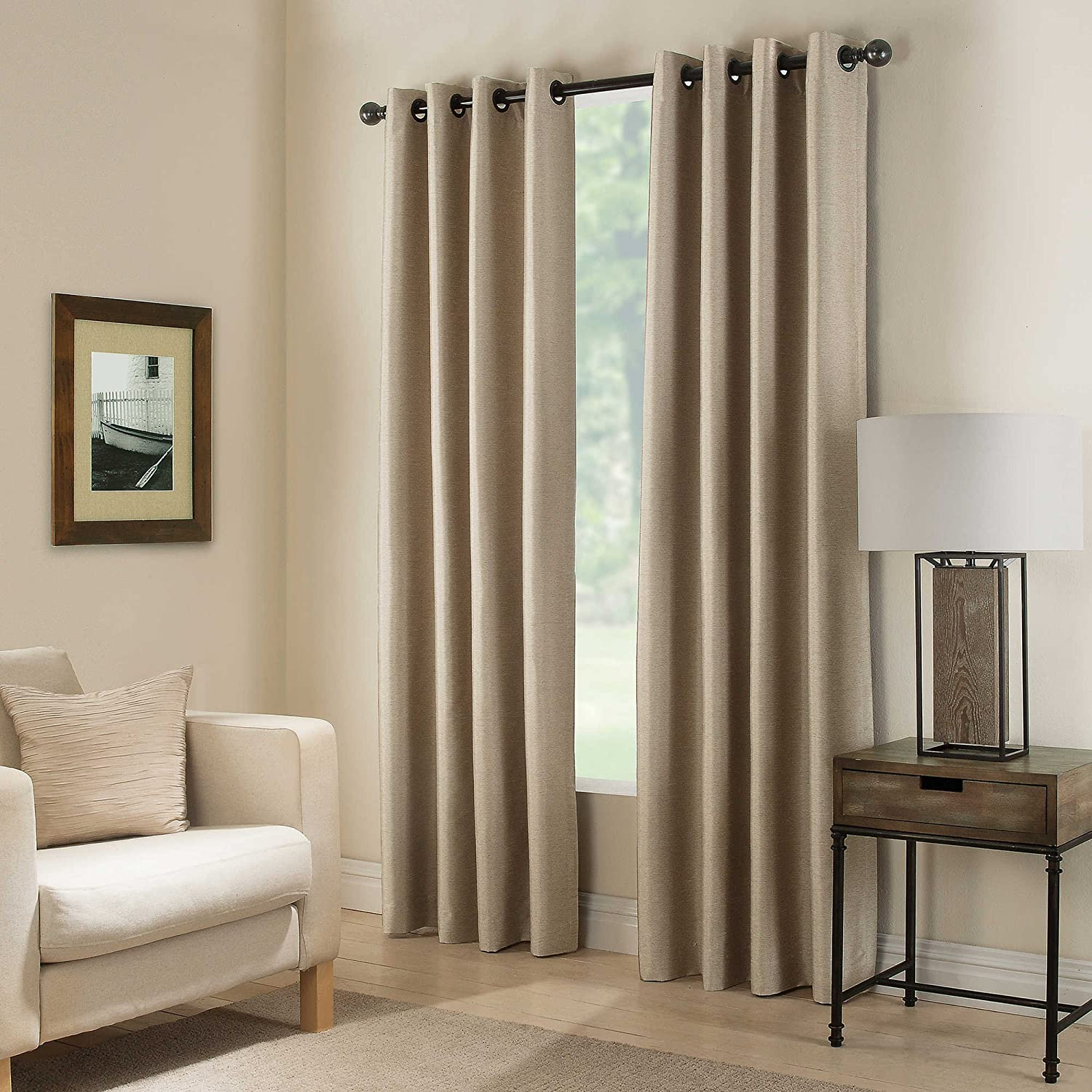 Gorgeous Home (#32) 1 Panel Solid Taupe TAN Thermal Foam Lined Blackout Heavy Thick Window Treatment Curtain Drapes Silver Grommets (108