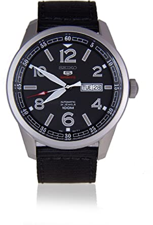 Amazon.com: Seiko 5 Sports SRP625 K1 Black Dial Canvas Band ...
