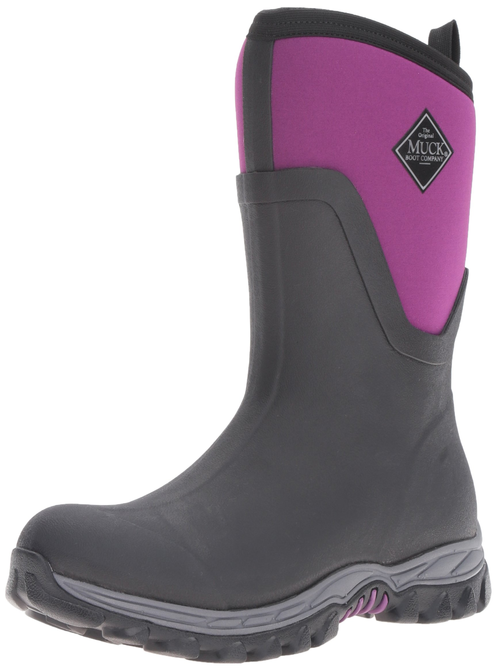 Muck Boot Women's Arctic Sport II Mid Snow Boot, Black/Phlox Purple, 9 US/9 M US