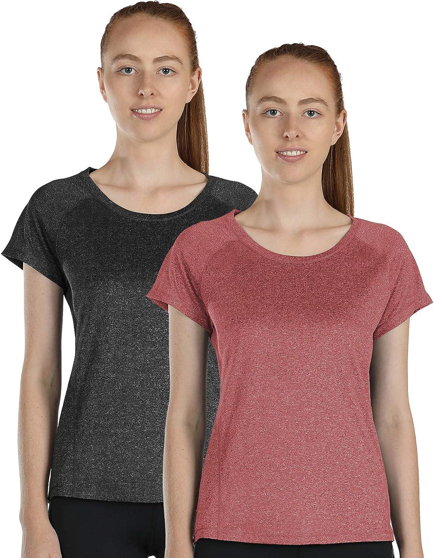 icyzone Damen Laufshirt Fitness Sport T-Shirt Gym Yoga Top 2er Pack Kurzarm Funktionsshirt
