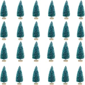 24pcs Mini Pine Trees 1.7'' Frosted Sisal Trees 4.5cm Plastic Winter Snow Ornaments Tabletop Trees with Wood Base Bottle Brush Trees for Crafting Displaying Christmas Ornaments (4.5cm- Green 24pcs)