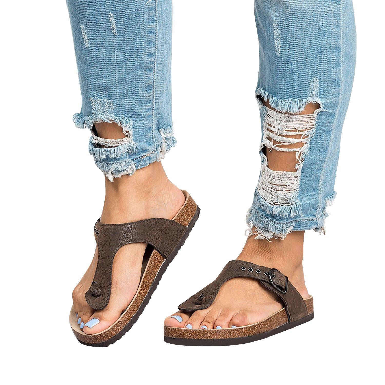 Liyuandian Womens Mayari Sandals Summer Leather Flat Braid T-strap Flip Flop
