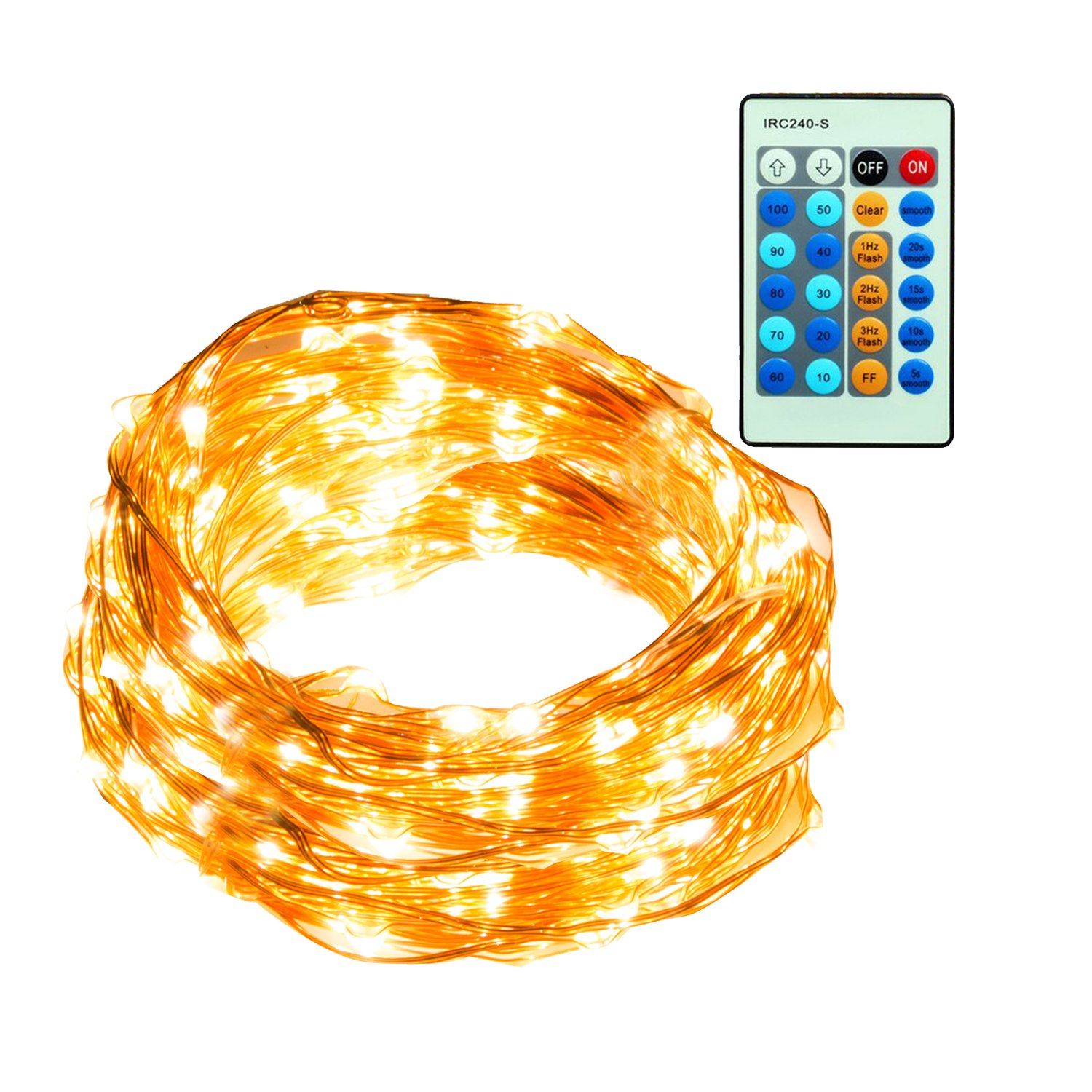 40Ft 120 LED Fairy Starry Christmas Copper Wire String Dimmable with Remote Control. Waterproof Decorative Lights for Bedroom, Patio, Dining room, Garden, Gate, Yard, Parties, Wedding,Bed Room.