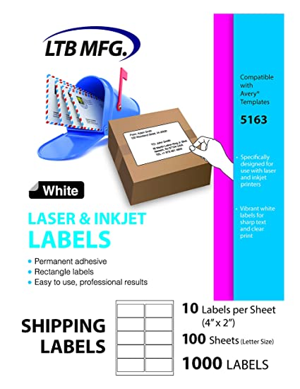 LTB MFG Laser Inkjet Printer Shipping Labels White