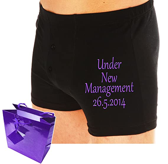 PERSONALISED Embroidered boxer shorts UNDER NEW MANAGEMENT Groom Wedding gift