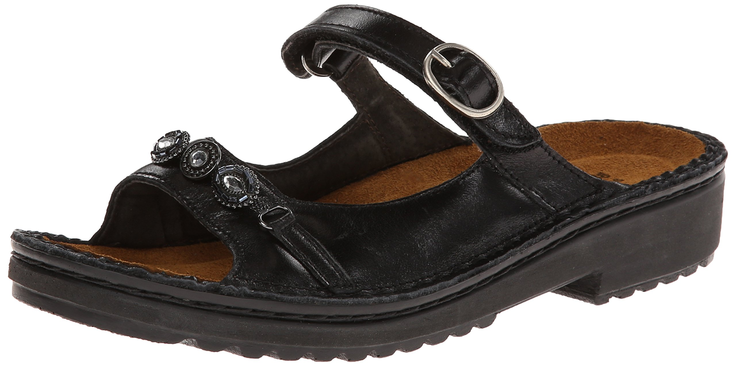 Naot Women's Kyra Flat,Midnight Black Leather,42 EU/10.5-11 M US