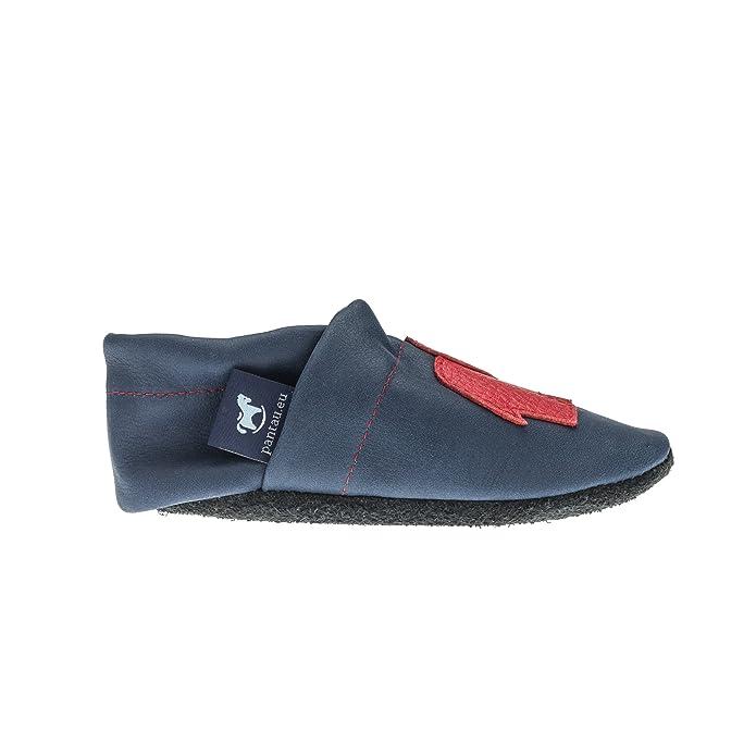 pantau.eu pantau.eu Lederpuschen mit Fuchs - Zapatillas de estar por casa de Piel para niña, color Azul, talla 21 EU / Fußlänge bis 13.4 cm